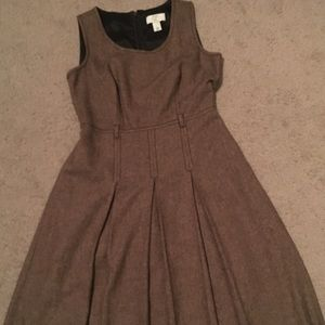 Loft tan and brown wool pleated dress.